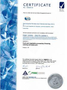 Международный сертификат FSSC 22000 версия 5